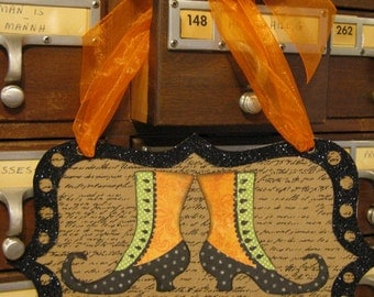 Wall Sign, Halloween Spooktacular Glitter Witchy Shoes with Orange Ribbon door/wall sign by Stacy Marie