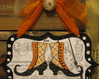 Wall Sign, Halloween Spooktacular Witchy Shoes with Glitter and Orange Ribbon wall/door sign by Stacy Marie