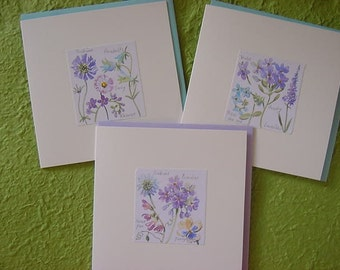 Set of 3 hand-made Floral Greeting Cards