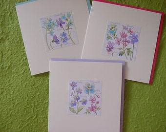 Set of 3 Floral Hand-made Greeting Cards