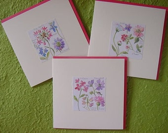 Set of 3 Floral Hand-made Greeting Crads