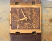 Contemporary Wall Clock - Peachy rustic metal quartz clock - recycled art clock