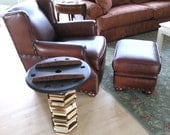 Upcycled Wood End Table, Foundry pattern and stacked reclaimed furniture slices, Mancave Furniture, Bachelor Pad Decor