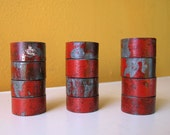Set of Six, Red and Gray Reclaimed Pipe Napkin Holders