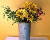 Rustic Vase, Industrial Decor, table centerpiece, metal vessel, flower arrangement