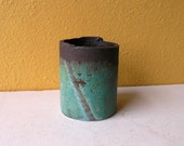 Industrial Utensil Holder, Emerald Green Upcycled Metal Pipe Container - pen holder - kitchen utensil holder