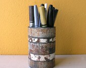 Industrial Container, Recycled Metal. Unique Utensil Holder - Gold white speckled rustic