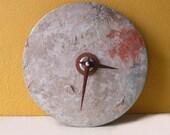 Industrial Wall Decor, Cream pink round found object quartz clock