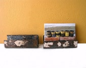 Industrial Post Card Holder, Reclaimed Metal - Steam punk home and office decor