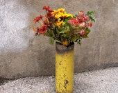 Dandelion Yellow Metal Art Vase, Industrial Decor - Wet, Dry Flower Vase