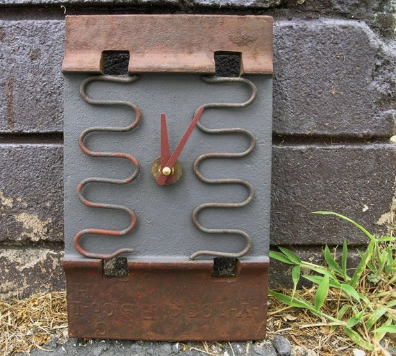 Contemporary Wall Clock - recycled quartz clock, Vermont RR Plate and found objects