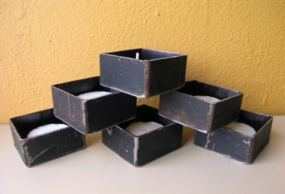 Little Black Tea Light Holders, Recycled Metal Square Containers
