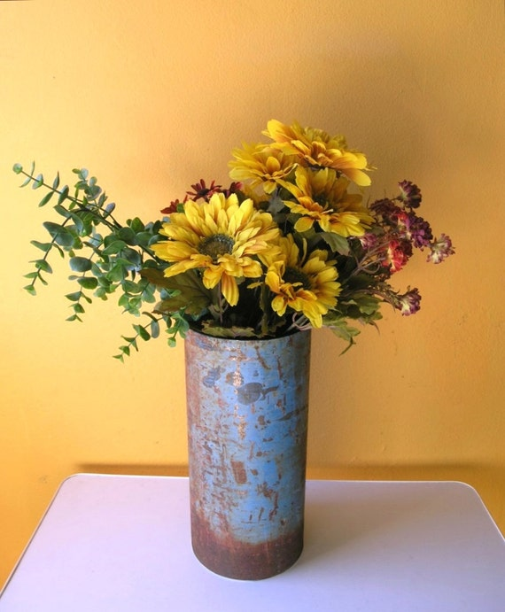 Rustic vase industrial decor table centerpiece metal