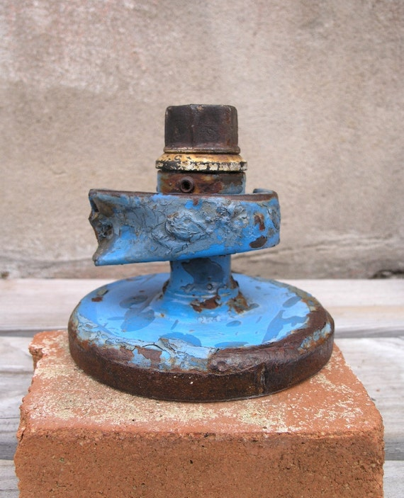Blue Upcycled Steam Punk Candle Holder, Industrial Decor