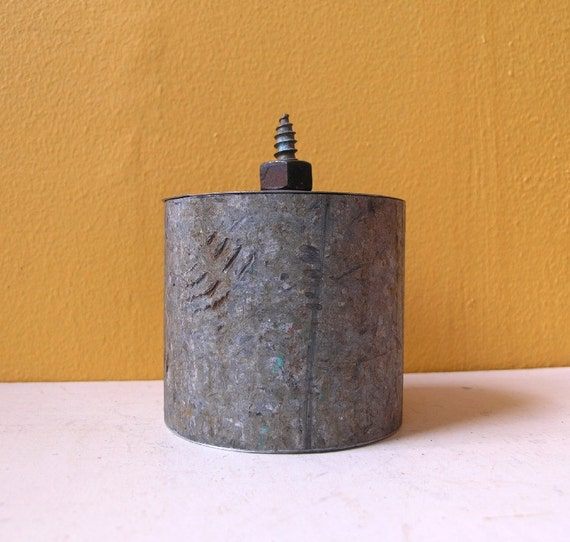 Keepsake Box - Upcycled Reliquary Box - Grey Steel, Industrial Storage with found object lid.