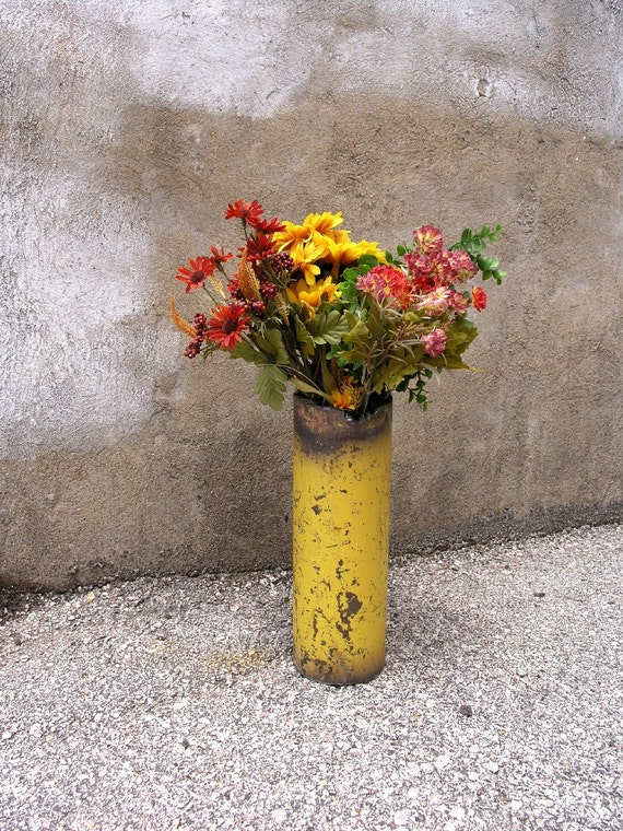 Dandelion Yellow Metal Art Vase, Industrial Decor - Wet, Dry Flower Vase
