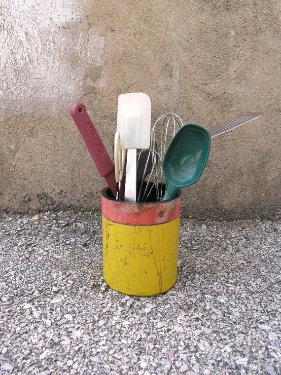 Pink and Yellow Container - Metal Pipe Utensil Holder, Industrial Decor