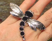 Dragonfly HUGE Fashion Costume Ring - Up-cycled Pin - Adjustable Size - R11CT