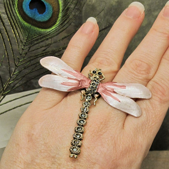 Nouveau Dragonfly HUGE Fashion Costume Cocktail Ring - Up-cycled Pin - Adjustable Size - R12CT FREE Shipping