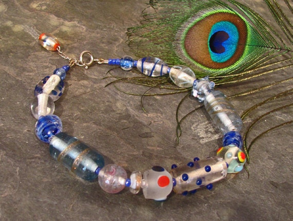 Beaded Anklet Ankle Bracelet with Clear Blue Lampwork Glass Beads Sterling Silver - A22 FREE Shipping