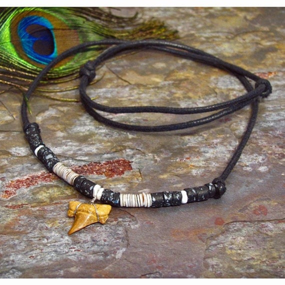 Shell and Shark's Tooth Beach Necklace - Adjustable Slip Knots - N01