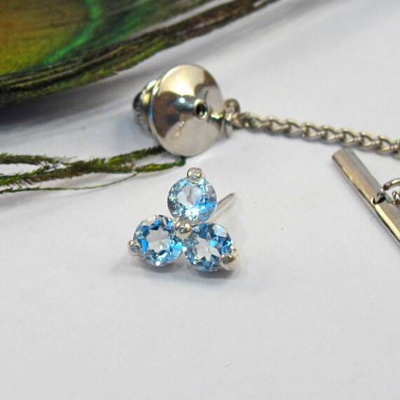 Blue Topaz Tie Tack: 3-Stone Sky Blue Topaz Tie Pin Brooch - T17