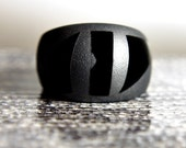 Onyx I - Black Crystal and Glass Ring - Size 7