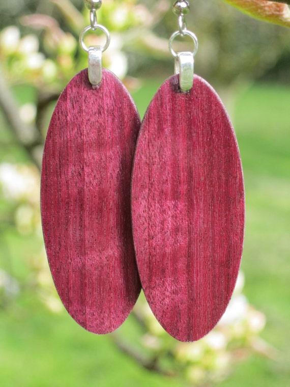 Gorgeous Light Weight Purple Heart Wood Earrings