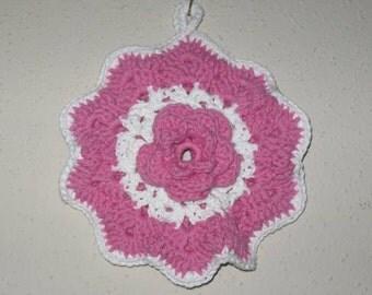 Pink Rose Pot Holder