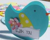 Little Birdie Thank You Notecard Set Handmade Envelopes Set of 12