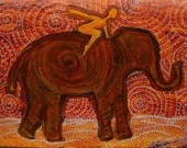 Flying Girl Receives Assistance on the Long Journey, or Elephant Spirit 8/50 limited edition print
