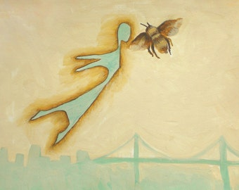 Flying Girl and the Lesson, or Bee. Limited Edition Print 2/50