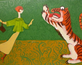 Flying Girl Just Says Pooh Pooh, or Tigerness- limited edition print 2/50