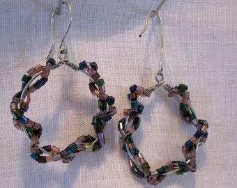 Purple Beaded and Wire Wrapped Hoops