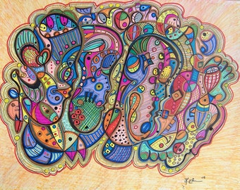 SOMBER - Modern Abstract Drawing - Art by Kim Dean