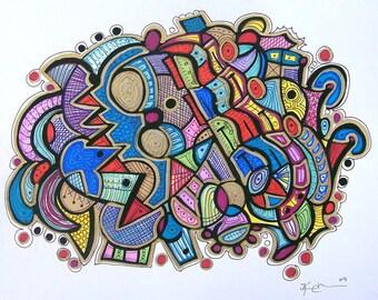 Modern Maze - Abstract Art Drawing by Kim Dean