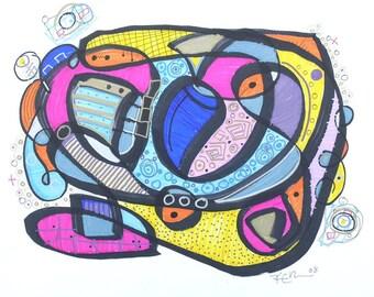 STERN - Modern Abstract Art - Drawing by Kim Dean - 14 x 17