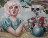 Tea Party one of a kind original oil painting by Elizabeth Caffey. Storybook, pop surrealist artwork