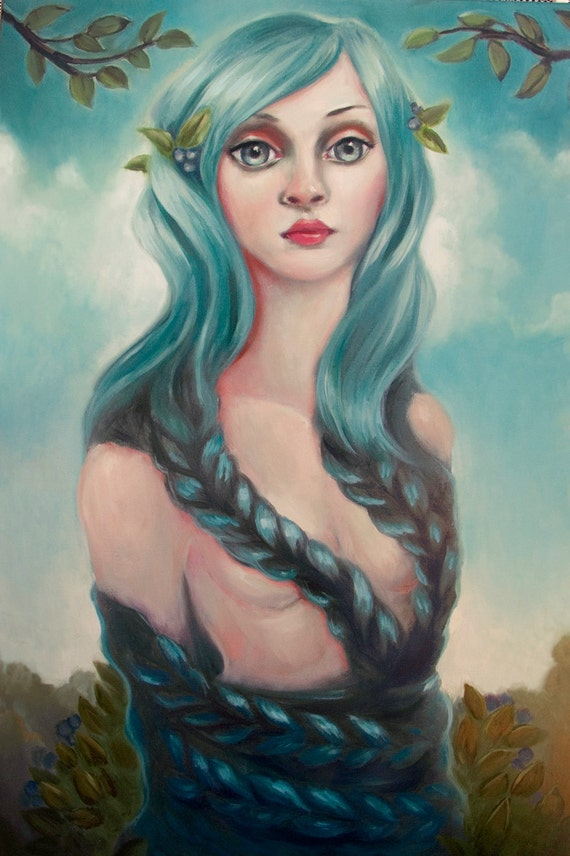 Blue Lady large surreal oil painting on canvas. Original art by Elizabeth Caffey. ON SALE