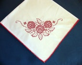 Red n' White Vintage Embroidered Linen Tablecloth