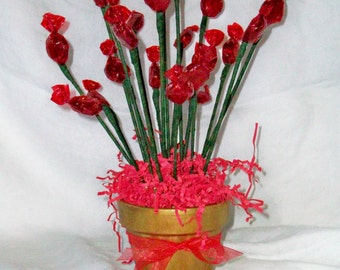 Cinnamon Candy Flowers In Gold Pot