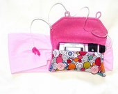 Pink Multi Colored Circle Insulin Pump Pack or Insulin Pump Carrier - Stretchy and Soft
