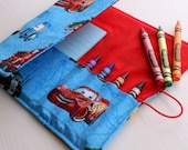 Disney Cars Crayon Wallet Roll Art Tote Center Organizer for Kids with Crayola Crayons and Paper