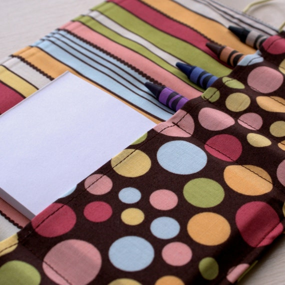 Crayon Roll Wallet Travel Art Center Tote with Brown and Pink Polka dots for Girls