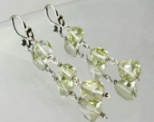 Triangles of lemon quartz, dangle earrings