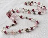 Pink garnet, tourmaline and quartz necklace