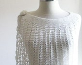 IVORY CAPELET SHAWL KNITTING STOLE VERY SOFT AND CHIC ACCESSORIES