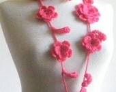 Crochet Pomegranate Lariat Hand Crocheted Lace Scarf Scarflette Necktie Necklace Rose Flower Cable