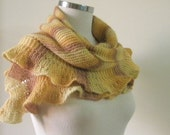 Sale Was 58 Now 48 Scarf Knitting Shawl Triangle Very Soft  Striped Ruffle Stole