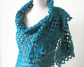 Teal  Shawl Chic Handmade Wrap, Wrap Stole, Triangle Scarf, Spring Fashion